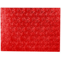 Enjay 1/2-13341834RED12 18 3/4 inch x 13 3/4 inch Fold-Under 1/2 inch Thick Half Sheet Red Cake Board - 12/Case