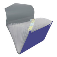 Universal UNV20531 Letter Size 12-Pocket Plastic Expanding File - Metallic Blue / Steel Gray