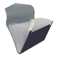 Universal UNV20530 Letter Size 12-Pocket Plastic Expanding File - Black / Steel Gray