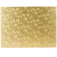 Enjay 1/4-13341834G 18 3/4 inch x 13 3/4 inch Fold-Under 1/4 inch Thick Half Sheet Gold Cake Board - 12/Case