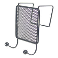 Universal UNV20017 4 1/8 inch x 6 inch Black Wire Mesh Partition Double-Garment Coat Hook