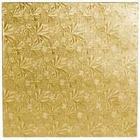 Enjay 1/4-12SG24 12 inch Fold-Under 1/4 inch Thick Gold Square Cake Drum - 12/Case