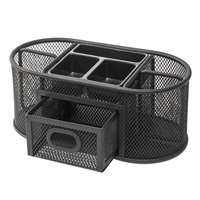 Universal UNV20023 9 3/8 inch x 4 1/8 inch x 4 3/5 inch Black Metal Mesh Oval Desktop Organizer