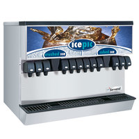 Servend 2706213 MDH-302 12 Valve Push Button Countertop Ice/Beverage Dispenser with Icepic and 300 lb. Ice Storage