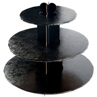 Enjay CS-BLACK 3-Tier Disposable Black Cupcake Treat Stand - 6/Case