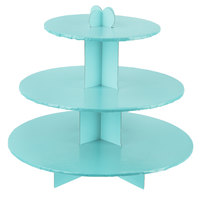 Enjay CS-BLUE 3-Tier Disposable Blue Cupcake Treat Stand - 6/Case