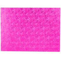 Enjay 1/2-13341834PINK12 18 3/4 inch x 13 3/4 inch Fold-Under 1/2 inch Thick Half Sheet Pink Cake Board   - 12/Case