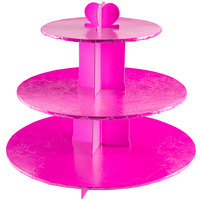 Enjay CS-PINK 3-Tier Disposable Pink Cupcake Treat Stand - 6/Case