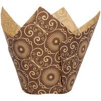 Enjay BC-TULIP-BROWNPTD160 2 inch x 3 1/4 inch Dark Brown Mariposa Print Tulip Baking Cup   - 1000/Case