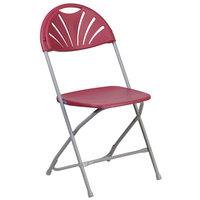 Flash Furniture LE-L-4-BUR-GG Hercules Burgundy Plastic Fan Back Folding Chair
