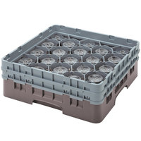 Cambro 20S434167 Camrack 5 1/4 inch High Customizable Brown 20 Compartment Glass Rack