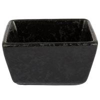 American Metalcraft PSBL 3 1/2 inch x 2 1/2 inch x 2 inch Black Artisanal Porcelain Sugar Packet Holder