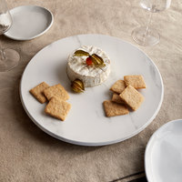 American Metalcraft MW14 14 inch x 1 1/8 inch Round Melamine Serving Board / Charger - Faux White Marble
