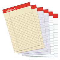 Universal UNV35895 Fashion 5 inch x 8 inch Assorted 3 Color Perforated Narrow Ruled Writing Pad   - 6/Pack
