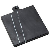American Metalcraft MB9 7 3/4 inch x 7 3/4 inch x 3/4 inch Square Melamine Serving Board - Faux Black Marble
