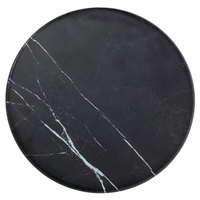 American Metalcraft MB171 17 1/4 inch x 1 1/8 inch Round Melamine Serving Board - Faux Black Marble