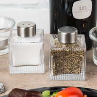 American Metalcraft GSPSR Vintage Collection 2 oz. Ribbed Square Glass Salt and Pepper Shaker Set