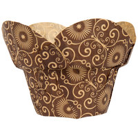 Enjay BC-ROUNDWRAP-BROWNPTD160 2 inch x 2 3/4 inch Dark Brown Mariposa Print Lotus / Crown Baking Cup   - 1000/Case