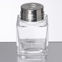 American Metalcraft GSS6 Vintage Collection 6 oz. Square Glass Cheese Shaker with Slotted Stainless Steel Top