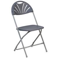 Flash Furniture LE-L-4-CH-GG Hercules Charcoal Plastic Fan Back Folding Chair