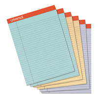 Universal UNV35878 Fashion 8 1/2 inch x 11 inch Assorted 3 Color Perforated Wide Ruled Writing Pad   - 6/Pack