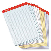 Universal UNV35879 Fashion 8 1/2 inch x 11 inch Assorted 4 Color Perforated Wide Ruled Writing Pad   - 12/Pack
