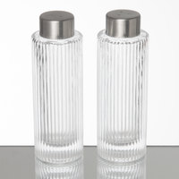 American Metalcraft GSPR Vintage Collection 2 oz. Ribbed Round Glass Salt and Pepper Shaker Set