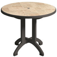 Grosfillex US701102 Aquaba 48 inch Round Toscana Decor Resin Folding Table with Charcoal Base and Umbrella Hole