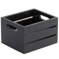 American Metalcraft WCBL7 Black Wood Caddy - 7 1/2 inch x 6 1/4 inch x 4 3/4 inch