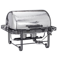 American Metalcraft MESA72H Mesa 8 Qt. Rectangular Hammered Stainless Steel Roll Top Chafer