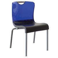 Grosfillex US228211 Krystal Resin Stackable Sidechair with Cobalt Blue Back and Charcoal Seat - 4/Pack