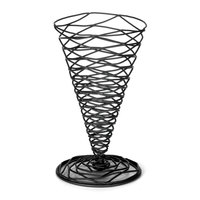 Tablecraft BK157 Artisan Round Black Appetizer Wire Cone Basket - 4 3/4 inch x 6 3/4 inch