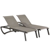 Grosfillex US942288 Sunset Volcanic Black Duo Resin Chaise with Solid Gray Sling Seat