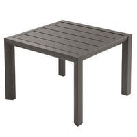 Grosfillex US040288 Sunset 20 inch Square Volcanic Black Low Outdoor Table