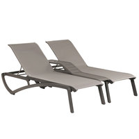 Grosfillex US942289 Sunset Platinum Gray Duo Resin Chaise with Solid Gray Sling Seat
