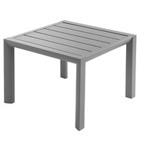Grosfillex US040289 Sunset 20 inch Square Platinum Gray Low Outdoor Table