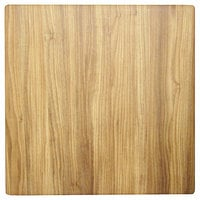 Grosfillex US32H726 32 inch Square Chesnut Outdoor / Indoor HPL Compact Table Top