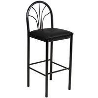 Lancaster Table & Seating Fan Back Bar Height Cafe Chair with 2 inch Black Padded Seat