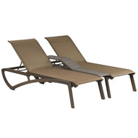 Grosfillex US942599 Sunset Fusion Bronze Duo Resin Chaise with Cognac Seat