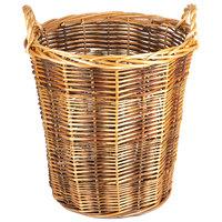 Dark Round Wicker Display Basket with Handles - 20 inch x 22 inch