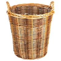 Dark Round Wicker Display Basket with Handles - 20 inch x 22 inch