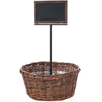 Natural Round Wicker Display Basket with Tall Metal Sign - 17 inch x 8 inch