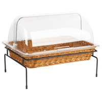 Natural Rectangular Wicker Merchandising Basket with Lid and Metal Stand