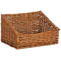 Natural Rectangular Wicker Display Basket - 17 inch x 15 inch - Slant Top