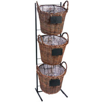 3 Tier Round Natural Wicker Display Basket Rack with Metal Signs - 13 inch x 45 inch