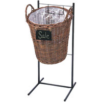 Natural Round Wicker Display Basket with Metal Sign - 14 inch x 31 inch