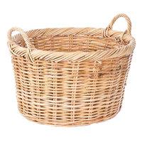 Light Round Wicker Display Basket with Handles - 22 inch x 12 inch