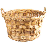 Light Round Wicker Display Basket with Handles - 22 inch x 12 inch