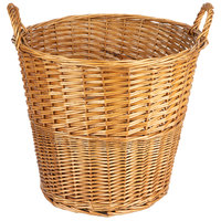Natural Round Wicker Display Basket with Handles