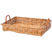 Natural Rectangular Wicker Display Basket with Handles - 24 inch x 18 inch x 5 inch